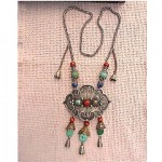 antique chinese silver and stone necklace
