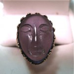antique french carved amethyst maiden head ring