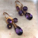 antique french victorian amethyst paste drop earrings
