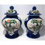 antique pair 19th century chinese baluster vases and covers