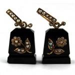 antique victorian 14k seed pearl onyx earrings