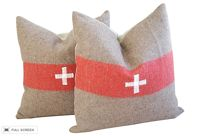 pair of vintage swiss army blanket pillows