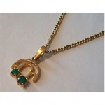 vintage 18ct emerald pendant and chain