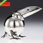 vintage 1950s solid silver pelican table lighter