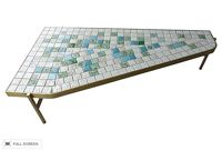 vintage 1970s brass tile coffee table