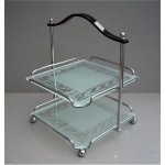 vintage art deco tiered chrome glass bakelite cake stand