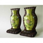 vintage chinese porcelain wall vases with wood frames