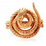 vintage diamond 14k gold snake ring