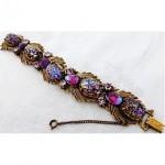 vintage florenza rhinestone foil glass bracelet