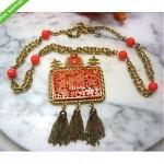 vintage hattie carnegie asian faux coral necklace