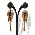 vintage hattie carnegie tassel clip earrings