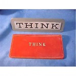 vintage ibm think desk sign with leather document case