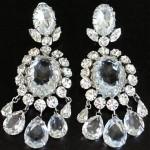 vintage schreiner massive ice rhinestone earrings