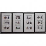 vintage set framed chinese rice paper paintings