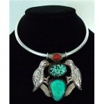vintage taxco reversible turquoise pearl silver necklace