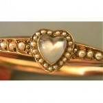 vintage victorian moonstone and seed pearl bracelet