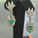 vintage white gold emerald diamond earrings