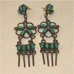 vintage zuni sterling turquoise earrings