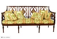 antique 19th century newly upholstered settee