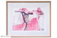vintage 1990s denise marks canyon rojo abstract color etching and collage