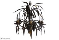 vintage french tole palm leaves chandelier