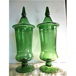 vintage mid-century glass empoli glass apothecary jars