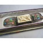 antique chinese filigree enamel carved bracelet