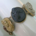 antique victorian carved lava cameo bracelet