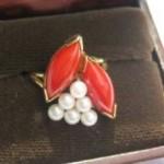 vintage 14k coral pearl cocktail ring