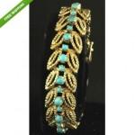 vintage 14k turquoise link bracelet