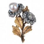 vintage 1960s buccellati pearl diamond brooch