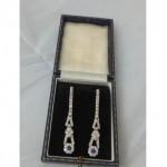 vintage art deco diamond and sapphire earrings