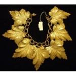 vintage brass leaf bracelet