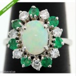 vintage emerald opal and diamond ring