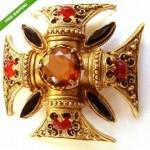 vintage florenza brooch pendant and earrings