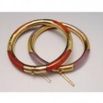 vintage pair 14k orange and purple jade bracelet