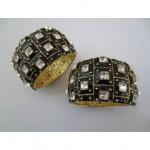 vintage pair kenneth jay lane enamel diamante cuff bracelets