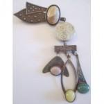 vintage sterling modernist studio brooch