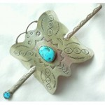 vintage sterling turquoise butterfly hair clip