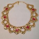 vintage ysl heart links necklace