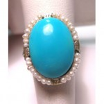 antique 14k turquoise seed pearl ring