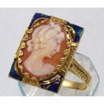 antique enamel carved cameo shell ring