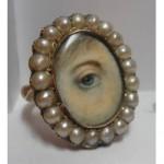 antique georgian seed pearl lovers eye ring