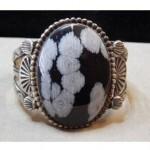 antique navajo snowflake obsidian bracelet