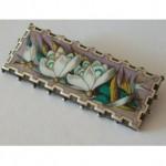 antique victorian sterling enamel floral brooch