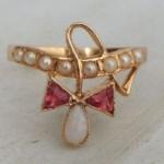 vintage art nouveau opal pearl ring