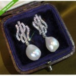 vintage estate diamond south sea pearl earrings