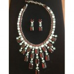 vintage schreiner necklace and earrings set