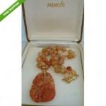 vintage unsigned mings 14k carved red jade pendant necklace