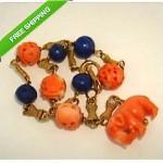 vintage 14k carved coral lapis elephant bracelet